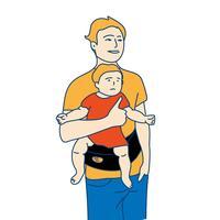 main dessinée père et enfant plat illustration de style design pop art design vecteur