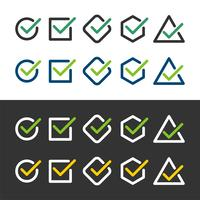 Häkchen gesetztes Symbol Logo Template Illustration Design. Vektor EPS 10.
