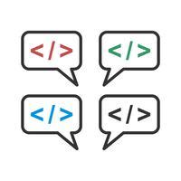 Set Speech Bubble codering pictogram Logo sjabloon afbeelding ontwerp. Vector EPS 10.