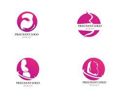 Ilustración de icono de vector de plantilla de logotipo embarazada