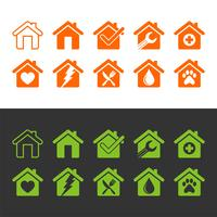 Set Home, House, Architecture, Building Icon Logo Template Illustration Design. Vector EPS 10.