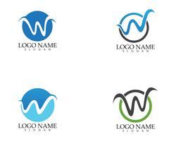 Ilustración de vector de plantilla de logotipo de onda de letra W