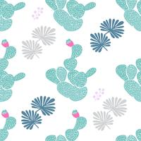 Hand drawn decorative seamless pattern with cacti. in Scandinavian style. Trendy tropical design for textile