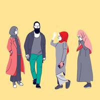muslim people, woman, girls and man vector illustration