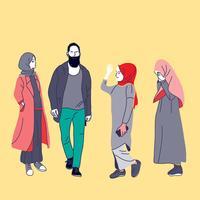 Gente musulmana, mujer, niñas y hombre vector ilustración