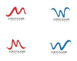 W m carta ola Logo plantilla vector illustration