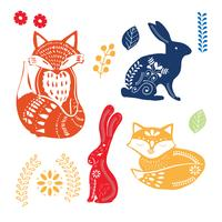 folk art pattern with bunnies, fox and flowers