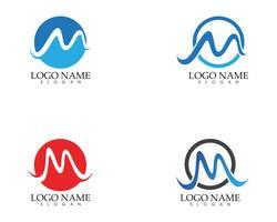 M carta onda logotipo modelo ilustração vetorial