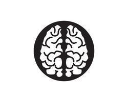 Plantilla de logotipo de cerebro e iconos de símbolos