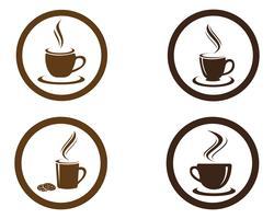 Taza de café Logo plantilla vector icono diseño