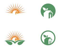 Home leaf green nature logo