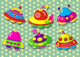 ufo stickers set.