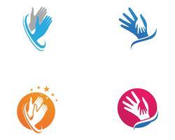 Símbolos de modelo de logotipo e vetor de mão de ajuda