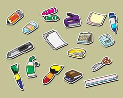 Büromaterial Aufkleber Symbole