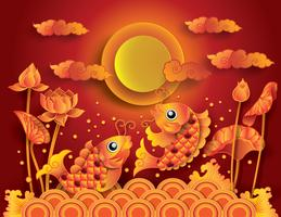 Golden koi fish with fullmoon