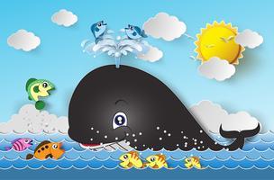 Illustrazione della balena simpatico cartone animato.