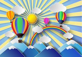 Vektor illustration solljus på moln med varmluftsballong.