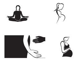 vector de plantilla de mujer embarazada línea arte símbolos