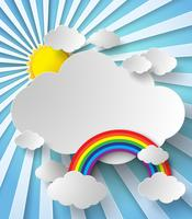El sol brilla entre las nubes y el arco iris.