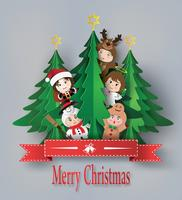 merry christmas greeting card with children