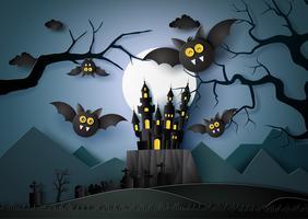 Happy Halloween avec des chauves-souris volant dans la nuit noire.