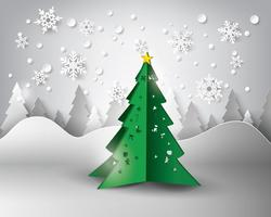 Paper snowflakes christmas tree  vector