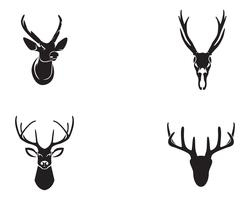 Huvud hjortdjur logo svart silhouete ikoner