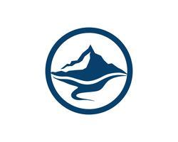 Vettore del modello di affari di logo dell'acqua e della montagna
