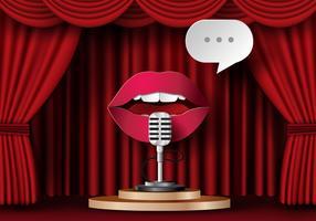 Läppar pratar med mikrofonen