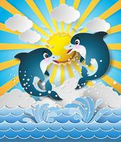 Ilustración de los delfines en el mar en la puesta de sol