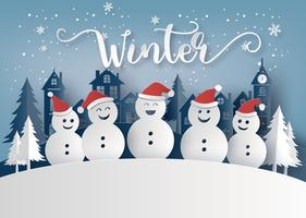 Winter season and Merry Christmas with snow man