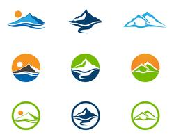 Montagne et eau Logo Business Template Vector