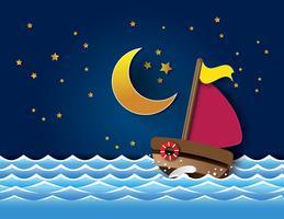 Vector van zeilboot in de nacht.