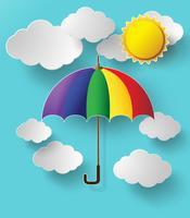 kleurrijke paraplu hoog in de lucht vliegen