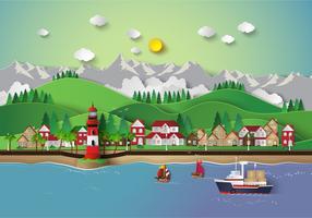 pueblo y bahía de mar.