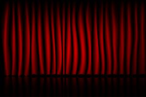 Red Curtain Theater Scene Stage Background. Backdrop with luxury silk velvet.