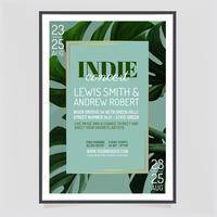 Vector Indie plantilla de cartel de concierto
