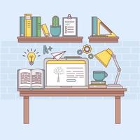 Ilustração de aprendizagem on-line de vetor