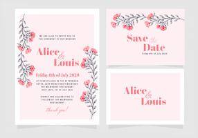 Vector Pink Floral Wedding Invitation