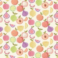 Vector patrón de frutas coloridas