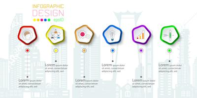 Six business labels with icon infographics on silhouette town.