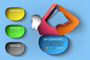 Silhouette flicka yoga hållning på infographic illustration.