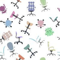 Chair collection and seamless pattern. vector