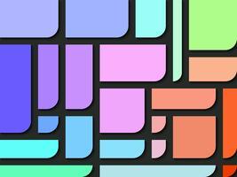 Colori rettangolari con un lato dello sfondo astratto rotondo.