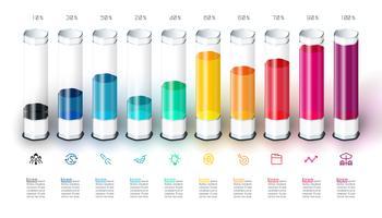 Barres graphique infographie avec tube de verre 3d coloré.