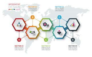Hexagon inforgraphics op vector grafische kunst.