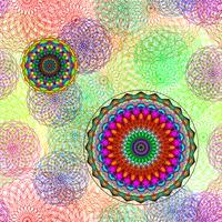 Patrón geométrico con línea de color círculo en arte gráfico vectorial.