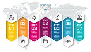 Siete barras de colores con infografías de iconos de negocios.