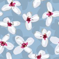 Weiße Blumen auf grauem nahtlosem Hintergrund.