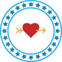 Ícone de seta cruzada de coração de vetor